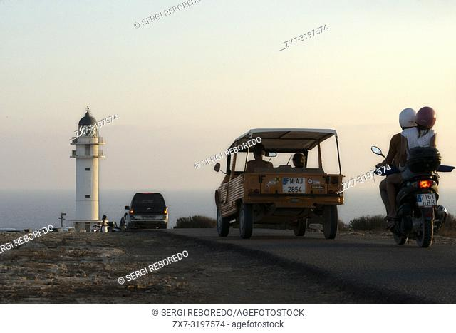 Road to Es Cap de Barbaria lighthouse, in Formentera, Balears Islands. Spain. Barbaria cape formentera lighthouse road