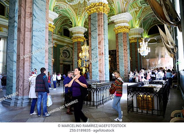 Interior, Saints Peter and Paul Cathedral, Peter and Paul Fortress. Saint Petersburg, Northwestern, Russia