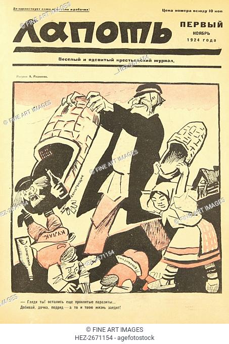 Down with the damned parasites! Cover of the Lapot Satirical Journal, 1924