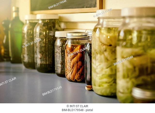 Close up of jars of preserves
