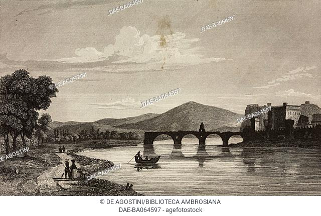Saint-Benezet Bridge, Pont d'Avignon, France, engraving by Lemaitre from France, deuxieme partie, L'Univers pittoresque, published by Firmin Didot Freres, Paris
