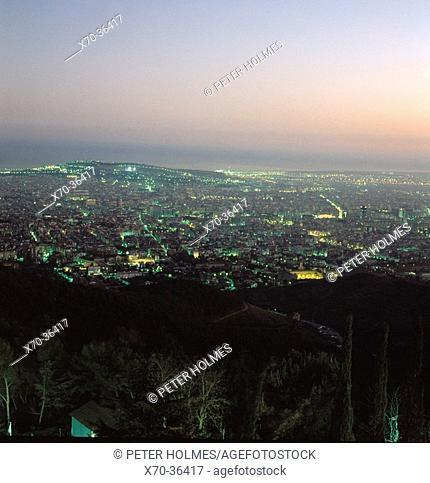 Barcelona as seen from Mount Tibidabo. Spain