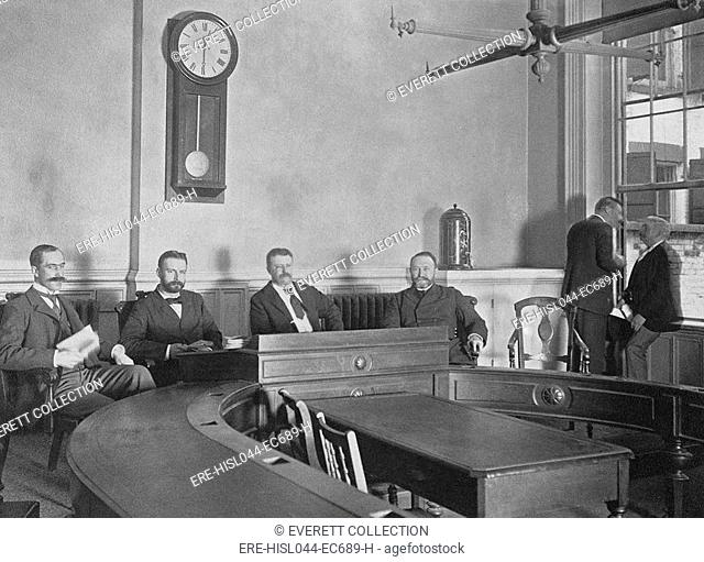 Four New York City Police Commissioners in 1895: L-R: Avery Andrews, Andrew D. Parker, Theodore Roosevelt, and Col. Frederick D. Grant