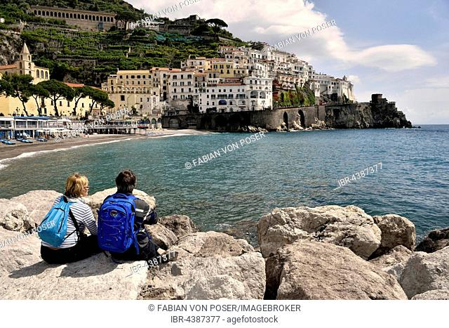 View of Amalfi, Amalfi Coast, Costiera Amalfitana, Province of Salerno, Campania, Italy