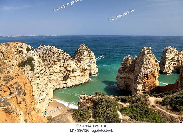 High angle view of beach in a bay near Lagos, Atlantic Coast, Algarve, Portugal, Europe