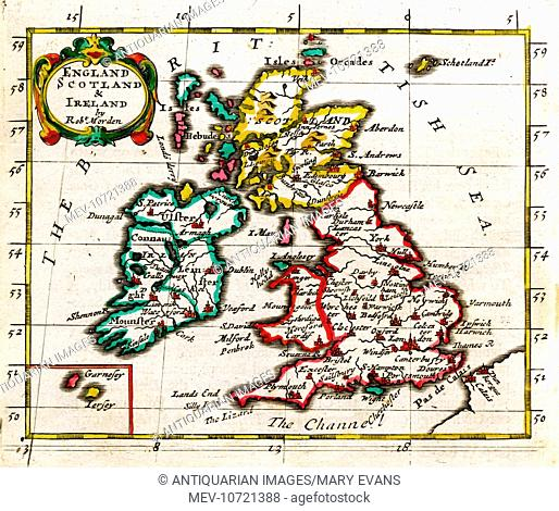 17th century Map of the British Isles, England, Scotland and Ireland