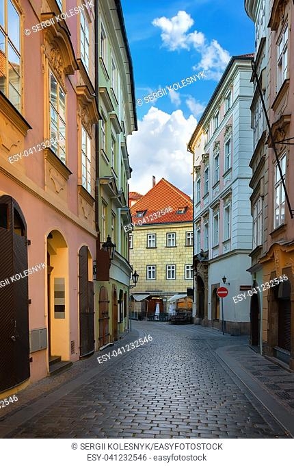Old narrow street of Prague at dawn
