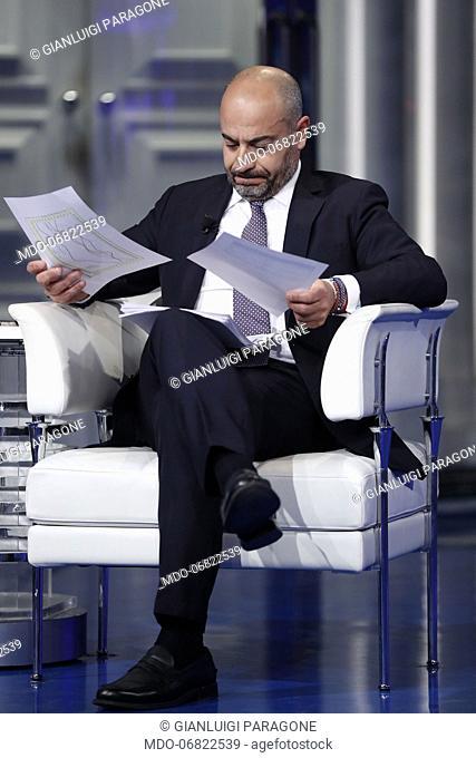 Italian journalist Gianluigi Paragone during the Porta a Porta television show. Rome (Italy), February 19th, 2019