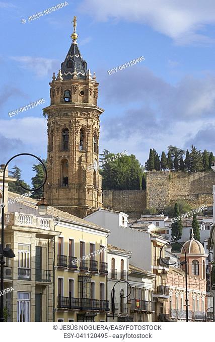 Antequera and tower of the Church of San Sebastian. Andalucia, Malaga, Spain