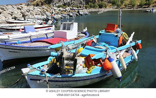 Colourful Greek fishing boats in the harbour at Skala Eresou on Lesvos, Greece