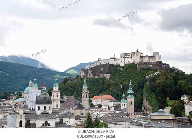 Salzberg cityscape and Hohensalzburg Castle on hill top, Salzberg, Austria