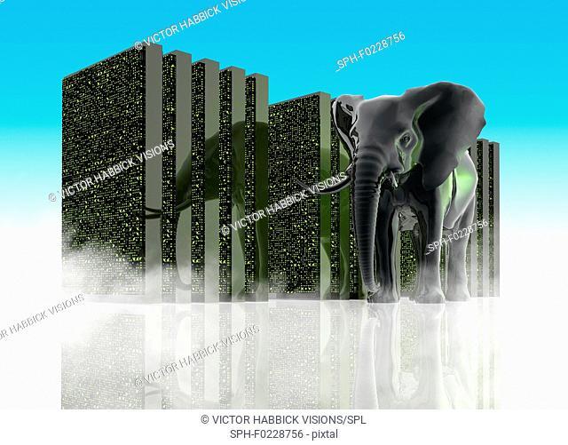 Black elephant and abstract storage units, illustration