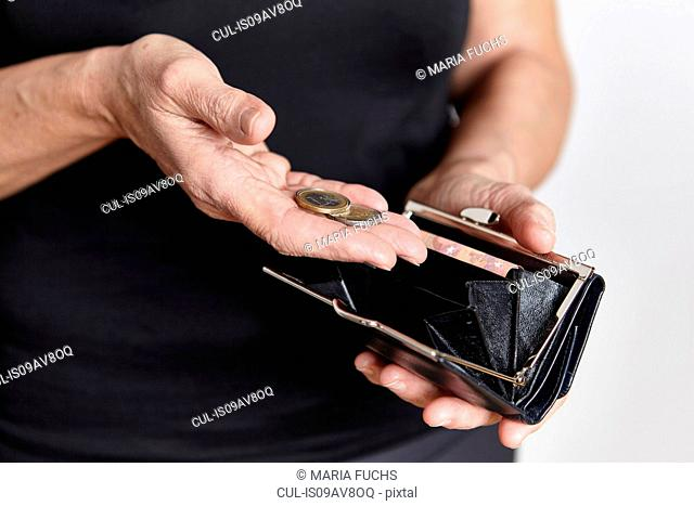 Person looking for loose change in coin purse