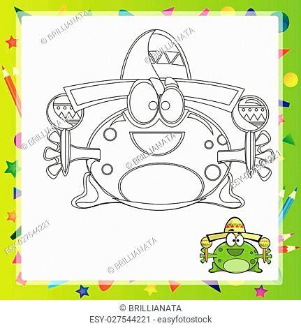 illustration of Cartoon frog - Coloring book - vector