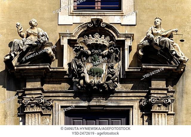 Palazzo degli Elefanti - An Elephants Palace, detail, Piazza del Duomo central square of old town of Catania, Sicily, Italy