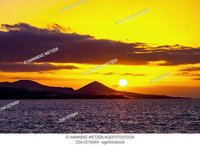 Sunset at the coastline of Las Palmas de Gran Canaria, Canary Islands
