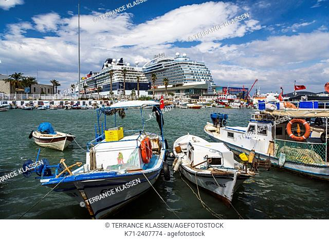 Fishing boats in the harbour in the port of Kusadasi, Turkey, Eurasia