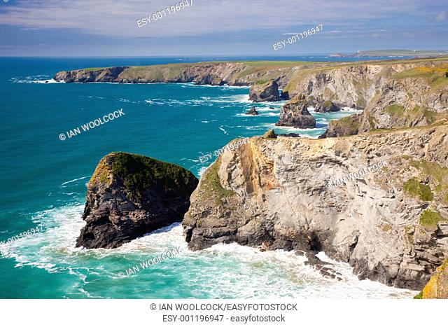 View from Carnewas Cliffs Cornwall England with Bedruthan Steps in the background