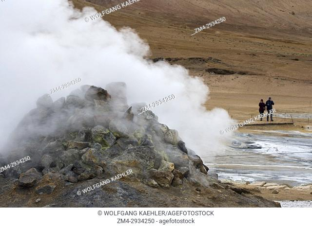 Steaming borehole in the hot spring area named Hverir, east of Mt. Namafjall near Lake Myvatn in Northeast Iceland