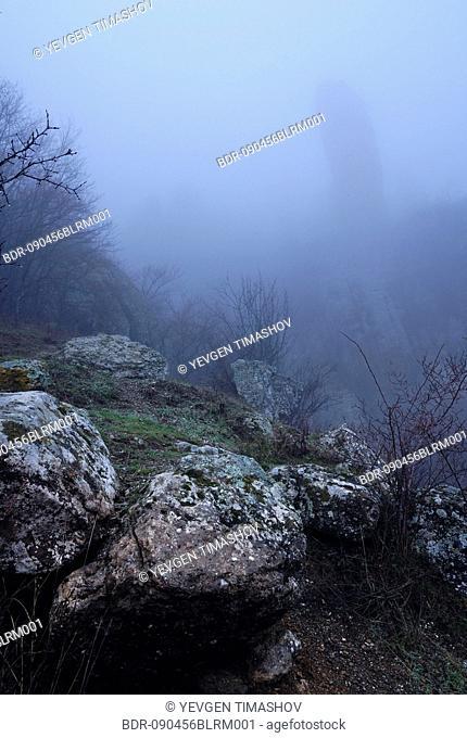 southern demergi mountain landscape on crimea covered in fog