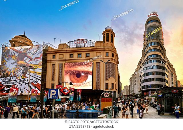 Callao square with Carrion building at the right hand side. Madrid. Spain