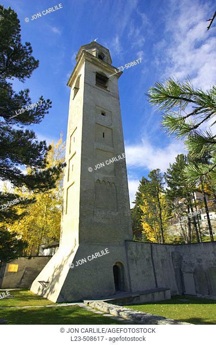 Dorf, Leaning Tower, St. Moritz, Switerland