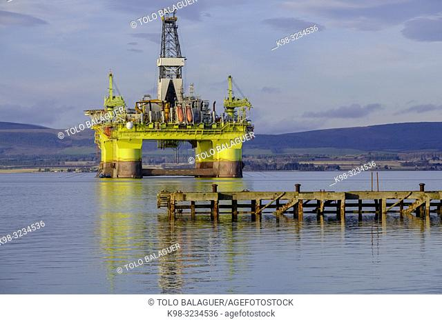 plataforma petrolifera, Cromarty, Black Isle, Highlands, Escocia, Reino Unido