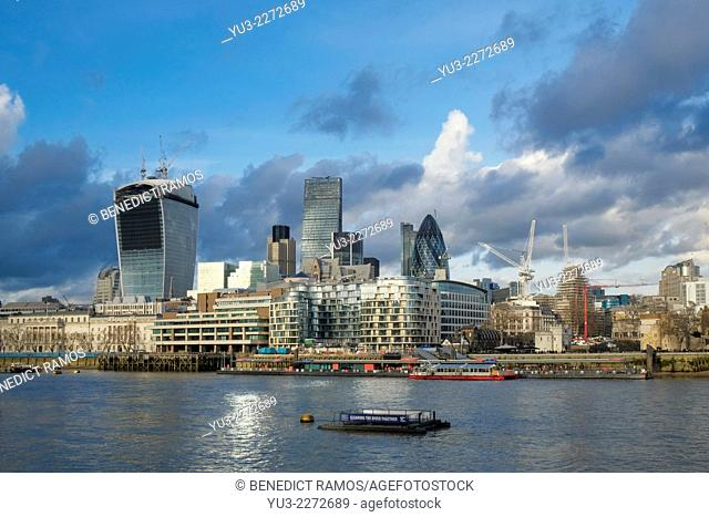 View of the City of London from the River Thames, London, UK