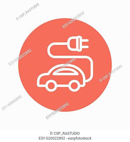 Electric car thin line icon