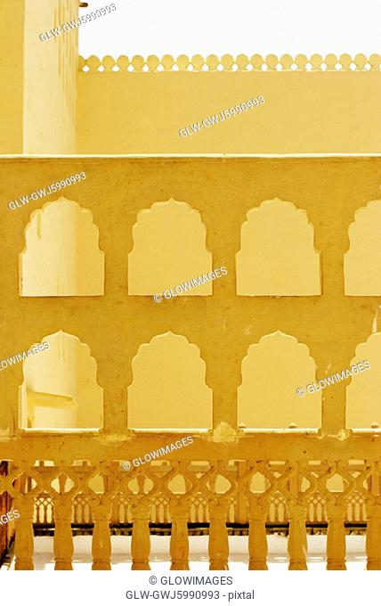 Carved grill in a palace, City Palace, Jaipur, Rajasthan, India