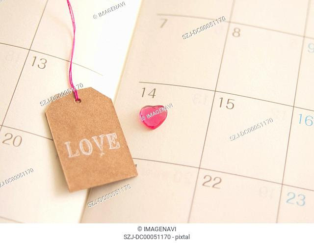 Diary with marked Valentine's Day