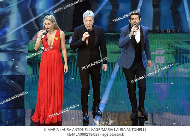 Claudio Baglioni, Michelle Hunziker, Pierfrancesco Favino at the 68th Sanremo Music Festival, Sanremo, ITALY-07-02-2018