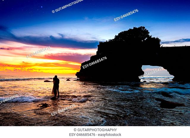 Tanah Lot Temple at sunset in Bali, Indonesia
