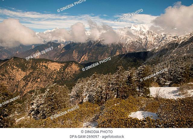 Chaukhamba mountains from Tungnath, Uttarakhand, India, Asia