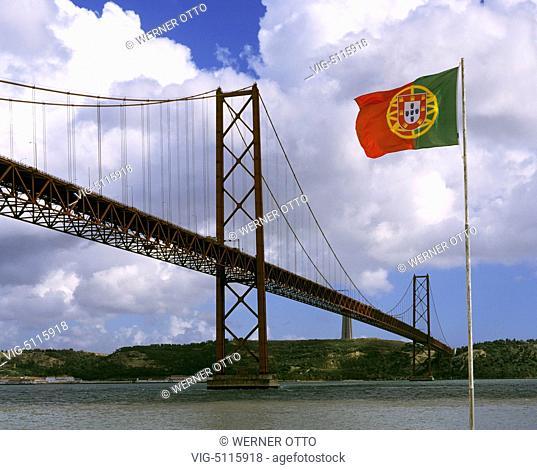 Portugal, P-Lisbon, Ponte 25 de Abril, suspension bridge across the Tejo river, railroad bridge, river bridge, flag of Portugal - Lissabon, Lisboa