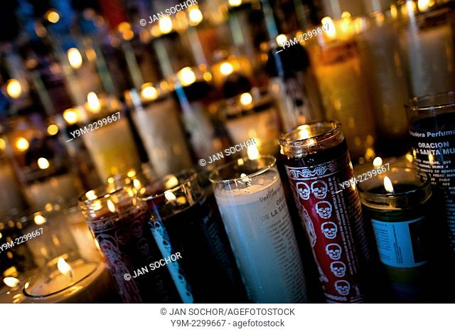 Pictures of Santa Muerte (Saint Death) printed on the candle jars in the shrine in Tepito, a rough neighborhood of Mexico City, Mexico, 1 June 2011