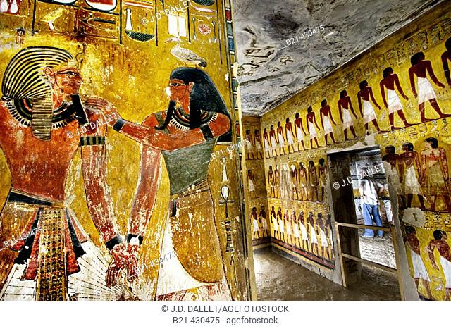 Mural paintings in the Tomb of Seti I. Valley of the Kings, Luxor West Bank. Egypt