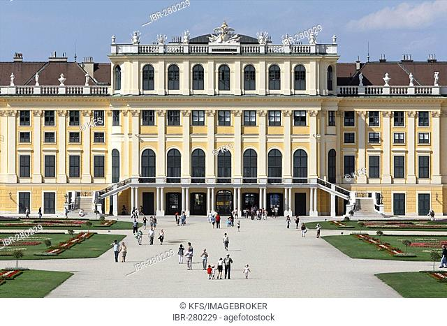 Castle Schoenbrunn, view from the castle grounds, Vienna, Austria