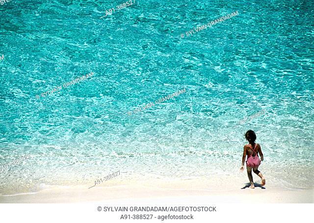 Beach, Ocean Club luxury hotel and resort. Nassau, Providence island. Bahamas, Caribbean