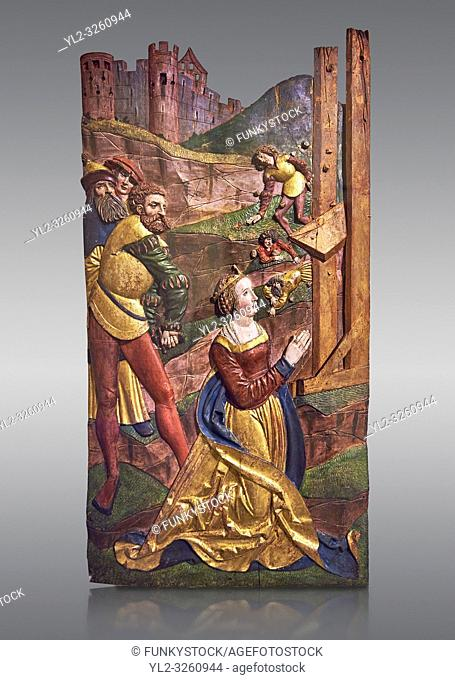 Painted panels of the Martyrdom of Saint Catherine painted in 1524 by Hans Gieng of Fribourg. From the church of Ependes near Fribourg, Switzerland