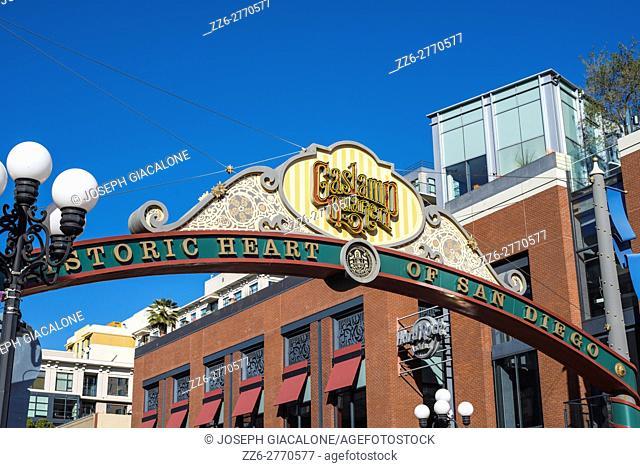 Gaslamp Quarter sign/marquee. Dowtown San Diego, California, USA