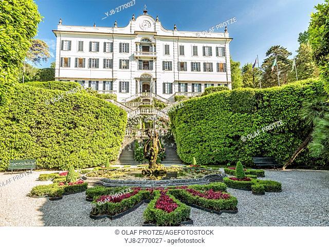 Fountain at Villa Carlotta in Tremezzina at Lake Como, Lombardy, Italy