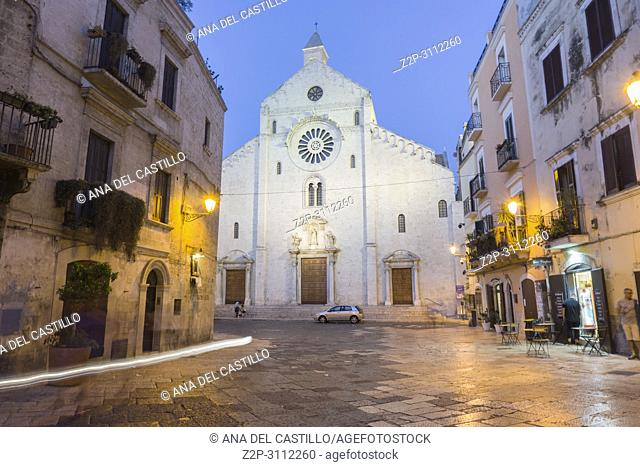 Cathedral of Bari by twilight on July, 14, 2018 Old town of Bari in Puglia Italy