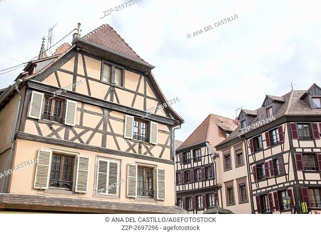Medieval architecture in Obernai on May 15, 2016 in Alsace France