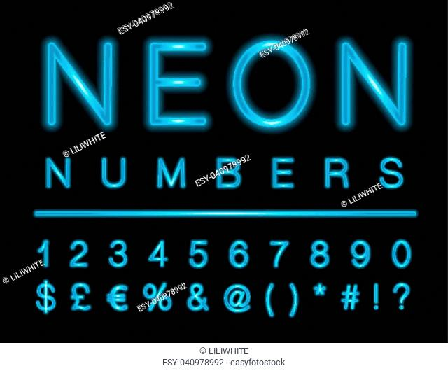 Set of blue neon numbers and special characters with LED glowing effect