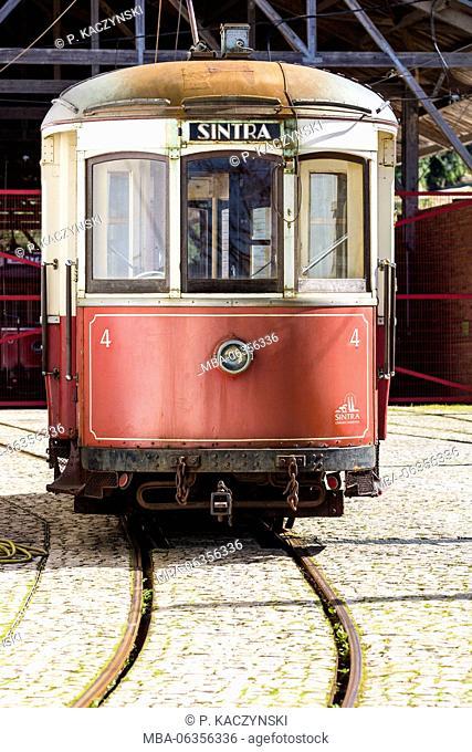 depot,Greater LIsbon,Historic tram,nobody,Portugal,rail,red,Sintra,transportation