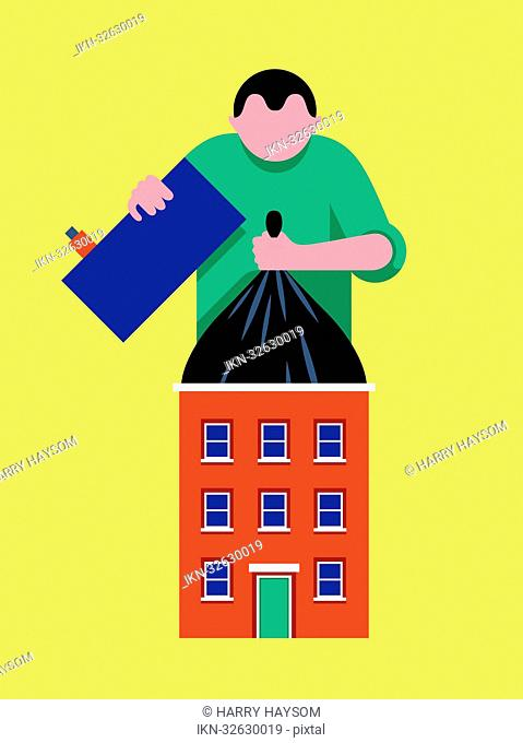 Person lifting large rubbish bag from house