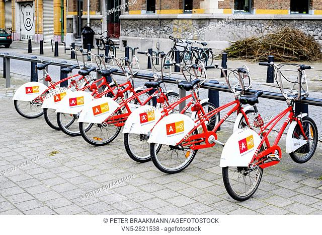 ANTWERP, BELGIUM - OCTOBER 25: Rental bikes on october 25, 2013 in Antwerp, Belgium. With 1000 bicycles and 80 stations, Velo is among the largest bike sharing