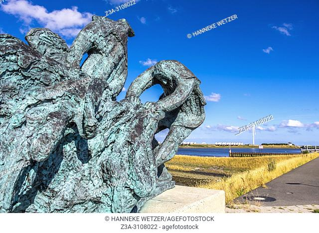 Fishermen monument at the port of Den Oever, North-Holland, Europe