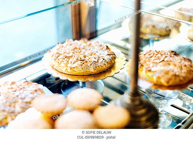 Baked goods on display in bakery window